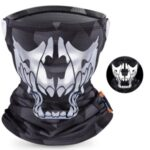 WEST BIKING Summer Cycling Reflective Skull UV Protection Face Mask Head Scarf Ice Silk Neck Gaiter – Black / Grey