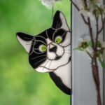 Stained Glass Cat Window Hanger Pendant Painted Cartoon Cats Cat Window Hanging Sun Catcher Home Decor – Black