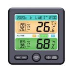 LCD Wall-mounted Desktop Indoor High-precision Thermometer Hygrometer Household Electronic Alarm Clock – Black