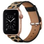 Stylish Printed Genuine Leather Watch Band for Apple Watch Series 6/5/4/SE 44mm / Series 3 42mm – Yellow Leopard Print