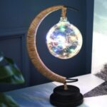 Moon Rattan Ball Lampshade Battery Powered Table Lamp Night Light – Multi-color