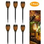 6Pcs Solar Torch Light Flame Dance Ornament Garden Lawn Light for Patio Yard Garden