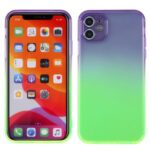 Gradient Color Glossy Shock-Absorbed TPU Phone Case Cover for iPhone 11 6.1 inch – Purple Green