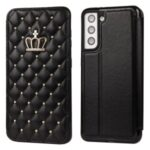 Stitching Rhombus Crown Leather Phone Case Stand with Card Slots for Samsung Galaxy S21+ 5G – Black
