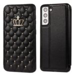 Crown Grid Pattern Flip Leather Phone Case Stand Card Holder for Samsung Galaxy S21 5G – Black