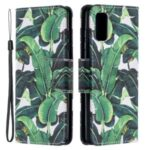 Pattern Printing Phone Cover PU Leather Stand Case with Strap for Samsung Galaxy A52 4G/5G – Leaf