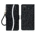 Wallet Stand Design Glittery Powder Splicing Leather Case for Samsung Galaxy A02s (166.5×75.9×9.2mm) – Black