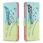 Pattern Printing Leather Wallet Shell Case for Samsung Galaxy A32 4G (EU Version) – Feather Pattern