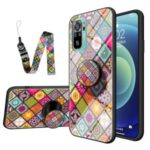 Colorful Flower Print Glass Hybrid Phone Case Protector with Lanyard for Xiaomi Redmi Note 10 4G / Redmi Note 10S – Color Pattern