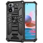 Armor Shockproof Kickstand PC TPU Phone Case with Magnetic Metal Sheet for Xiaomi Redmi Note 10 4G / Redmi Note 10S – Black