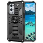 Armor Shockproof Kickstand PC TPU Phone Case with Magnetic Metal Sheet for OnePlus 9 Pro – Black