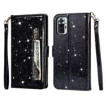 Glitter Sequins Zipper Pocket Wallet Flip Leather Phone Case with Strap for Xiaomi Redmi Note 10 Pro/Note 10 Pro Max – Black