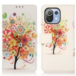 Pattern Printing Leather Wallet Stand Case for Xiaomi Mi 11 Lite 5G/4G – Flowered Tree