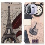 Pattern Printing Leather Wallet Case Cover for Xiaomi Mi 11 Pro – Eiffel Tower and Characters