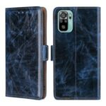 TPU + PU Leather Stand Case Shell with Card Slots for Xiaomi Redmi Note 10 4G / Note 10S – Blue