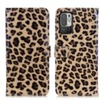 Leopard Print Mobile Phone Full-Protection Wallet Stand Cover Case for Xiaomi Redmi Note 10 5G