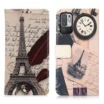Pattern Printing Full-Protection Stand Wallet PU Leather Phone Case Shell for Xiaomi Redmi Note 10 5G – Tower and Feather