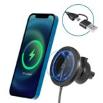 MRIOWIZ M-2001W 15W Car Air Vent Magnetic Wireless Charger for MagSafe with USB+Type-C Port Holder for iPhone 12/Samsung