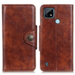 Leather Phone Protection Case Magnetic Clasp Wallet Stand Shell Cover for Realme C21 – Brown