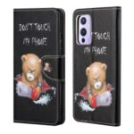 Pattern Printing Cross Texture Leather Phone Case Shell Wallet Stand for OnePlus 9R – Angry Bear