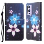 New 3D Cross Texture Pattern Printing Leather Phone Case for OnePlus 9R Wallet Stand Shell – Flower