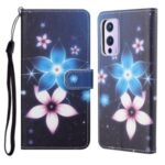 New 3D Pattern Printing Cross Texture Leather Wallet Stand Case Cover for OnePlus 9 Pro – Flower