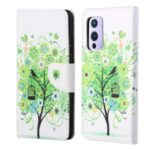 Wallet Stand Design Pattern Printing Cross Texture Leather Case for OnePlus 9 (EU / US Version) – Green Tree