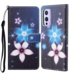New Pattern Printing Cross Texture Leather Wallet Stand Case for OnePlus 9 (EU / US Version) – Flower