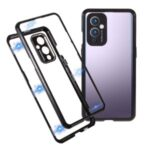 HD Double-sided Tempered Glass + Lock Installation Metal Magnetic Frame Case for OnePlus 9 (EU / US Version) – Black