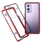 Full Covering Magnetic Metal Frame + Two-Sided Tempered Glass Cell Casing for OnePlus 9 (EU / US Version) – Red