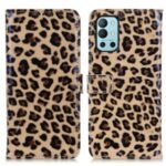 Leopard Print Design Wallet Stand Phone Full-Protection Cover Case for OnePlus 9R
