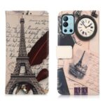 Pattern Printing Stand Wallet PU Leather Phone Case Shell for OnePlus 9R – Tower and Feather