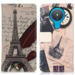 Pattern Printing Leather Wallet Case for Nokia 1.4 – Eiffel Tower and Characters