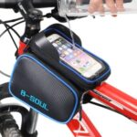 B-SOUL Cycling Bike Front Frame Bag Bicycle Tube Pannier Double Pouch 6.2inch Cellphone Touch Screen Pocket – Blue
