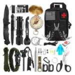 AGCY-51 Survival Equipment Set First Aid Supplies for SOS Emergency Tactical Hiking Hunting – Black