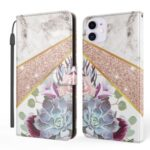 Marble Pattern Printing Stand Wallet Leather Mobile Phone Cover for iPhone 12 mini 5.4 inch – White / Flower