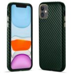 Carbon Fiber PU Leather Coated Hard PC Well-Protected Protective Cover for iPhone 11 6.1 inch – Green