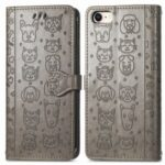 Magnetic Leather Stand Case with Imprinting Cat Dog Pattern for iPhone SE (2nd Generation)/8/7/6 – Grey