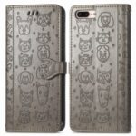 Imprinting Cat Dog Pattern Design Magnetic Leather Stand Case for iPhone 6 Plus/7 Plus/8 Plus 5.5-inch – Grey