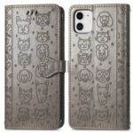 Imprinting Cat Dog Pattern Design Magnetic Leather Stand Case for iPhone 11 6.1-inch – Grey