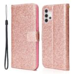 Glitter Powder Design Leather Stand Case with Card Slots Shell for Samsung Galaxy A32 4G – Rose Gold
