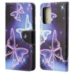 Cross Texture Wallet Design New Pattern Printing Leather Stand Case for Samsung Galaxy A82 5G – Sparkle Butterfly