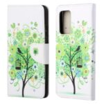 Cross Texture Wallet Design New Pattern Printing Leather Stand Case for Samsung Galaxy A82 5G – Green Tree