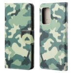 Cross Texture Wallet Design New Pattern Printing Leather Stand Case for Samsung Galaxy A82 5G – Camouflage