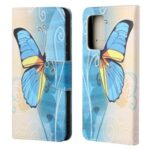 Cross Texture Wallet Design New Pattern Printing Leather Stand Case for Samsung Galaxy A82 5G – Blue Butterfly