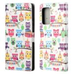 Wallet Design Pattern Printing Full Protection Leather Stand Protective Case with Stand for Samsung Galaxy A82 5G – Owls Sticker