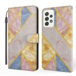 Marble Pattern Printing Leather Case Wallet Stand Design Phone Shell for Samsung Galaxy A32 5G – Rose Gold / Gold / Blue