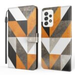 Marble Pattern Printing Leather Case Phone Protector Wallet Stand Shell for Samsung Galaxy A52 5G/4G – Triangle and Rhombus