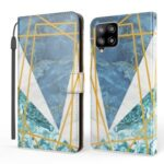 Pattern Printing Marble Style Wallet Leather Phone Case Stand for Samsung Galaxy A42 5G – Blue / White