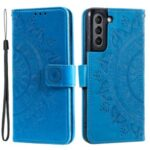 Imprinted Mandala Flower Wallet Leather Case for Samsung Galaxy S21 FE – Blue